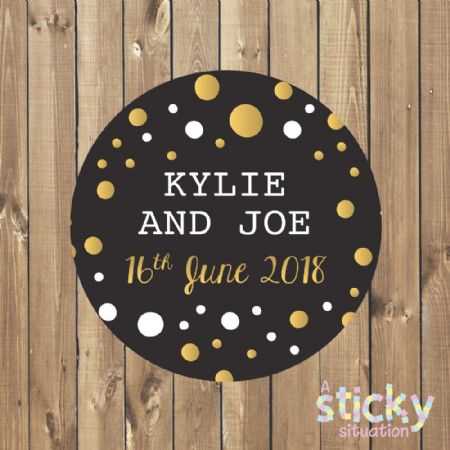 Personalised Wedding Stickers - Black and Gold Design